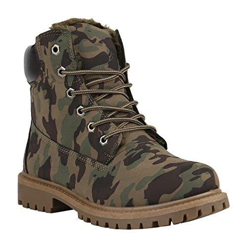 Warm Gefütterte Worker Boots Damen Schuhe Outdoor Stiefeletten Robust 152286 Camouflage Avelar 37 | Flandell®