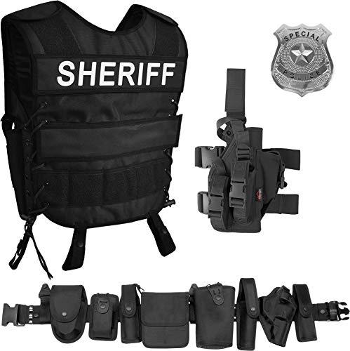 normani Sheriff Kostüm bestehend aus taktischer Weste mit Sheriff Patch, Einsatz-Gürtel, US Special Police Abzeichen und Pistolenholster Größe XL/XXL