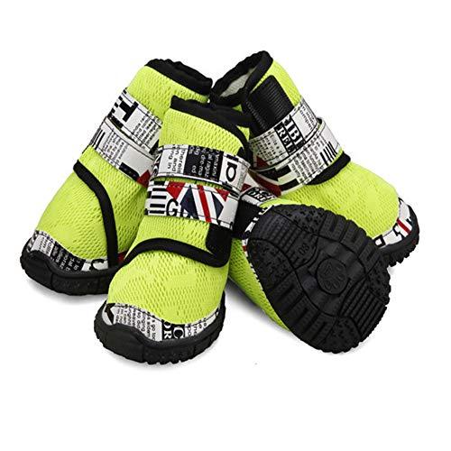 ungsaktives Mesh-Schuhe Mode Hohe Rohr Atmungsaktiv Strap Dog Schuhe Rutschfeste Hund Booties Krallenschutz - Für Alle Rassen - 4 Stück,Green,90# ()
