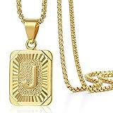 Trendsmax Herren Damen Ketten Platz Buchstabe A-Z Anhänger Halskette Gold gefüllte Box