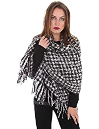 Ladies Womens Madison Large Check Blanket Winter Shawl Scarf (Dogtooth Check)