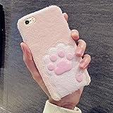Fucaiqian Para iPhone 6 Plus y 6s Plus Lovely Pink Cat Patrón de garra felpa cobertura completa funda protectora de la contraportada