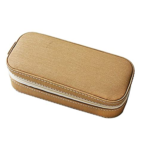 SANQIANWAN Faux Leather Travel Jewelry Box Organizer Display Storage Box Case for Rings Earrings Necklace Portable Jewelry Casket Box Organizer for Women Girl (champagne)