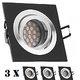 3er LED Einbaustrahler Set Bicolor (chrom / schwarz) mit LED GU5.3 / MR16 Markenstrahler von LEDANDO - 5W - warmweiss - 60° Abstrahlwinkel - schwenkbar - 35W Ersatz - A+ - LED Spot 5 Watt - Einbauleuchte LED eckig
