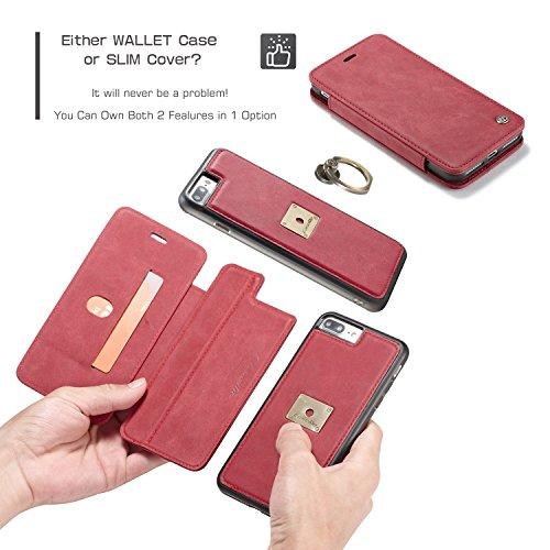 Handy-Hüllen & Hüllen, CaseMe Luxury Abnehmbare 2 in 1 Magnetic Finger Ring Wallet Case für Apple iPhone 7 Plus ( Farbe : Gelb ) Rot