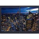 murando - 3D WANDILLUSION 210x150 cm Wandbild - Fototapete - Poster XXL - Fensterblick - Vlies Leinwand - Panorama Bilder - Dekoration - Stadt City New York Panorama