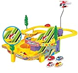 #4: Vivir Track Racer Racing Car Set with Rotating Helicopter ( Toys for 3 Years Old Boy and Girl )