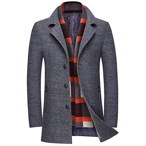 INVACHI Herren Slim Fit Winter Warm Kurze Wollmischung Businessjacke mit gratis abnehmbarem Soft-Touch-Wollschal - Grau - XX-Large - Wollschal Taschen Mit