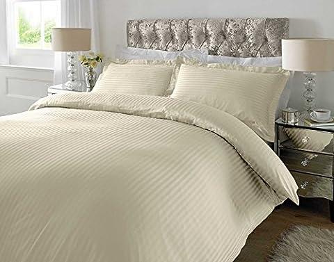 Luxury Premium Quality 300 TC 100% Cotton Sateen Stripe Ivory Duvet Cover with Oxford Pillowcases (Double)