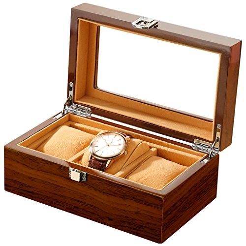 ZY Schmuckschatulle Watch Box Holz 3 Slots Uhrengehäuse Schmuck Display Aufbewahrungsboxen mit Glasplatte und Entfernung Speicher Kissen braun + schwarz,Brown Schuh-speicher-box