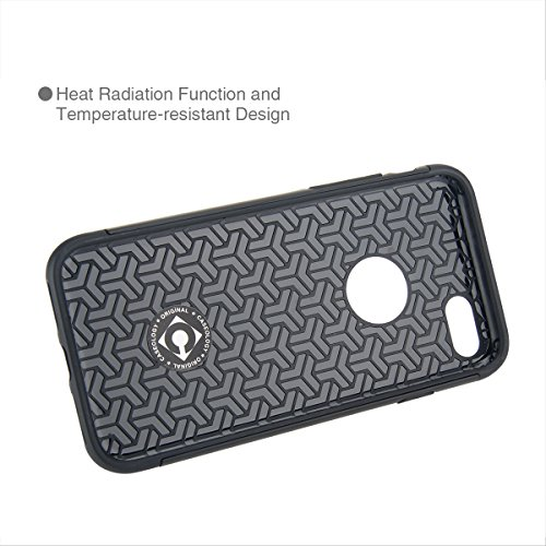 """MOONCASE iPhone 7 Coque, Combo Housse Hybride TPU +PC Etui Antichoc Anti Dérapant Robuste Protection Dual Layer d'Armure Lourde Case pour iPhone 7 4.7"""" Noir Rose Rouge"""