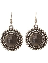 High Trendz Tibetan German Silver Traditional Gem Stone Ethnic Dangle And Drop Earrings For Women And Girls