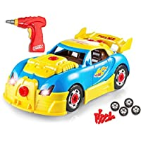 Beito - Build Your Own Toy Car with 30 Piece Constructions Set - Toy Car Comes With Engine Sounds Lights Drill With Toy Tools For Kids - Newest Version - Original