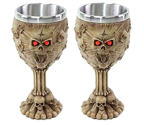Set von 2 Retro Rot Augen Skulls Weinkelch Edelstahl Mittelalter Sammlerstück Home Decor Geschenk _ Wasser Cup _ Halloween _ Horror Film Thema Party Ornament