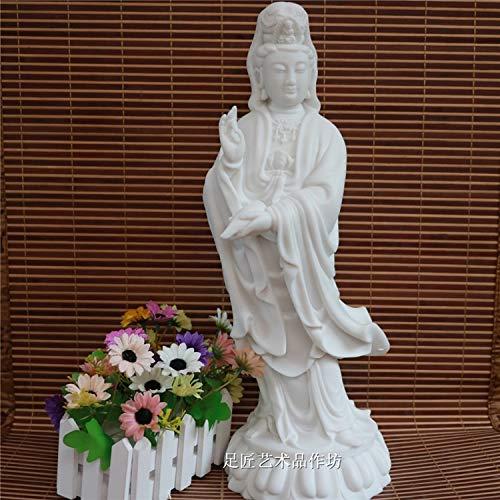 DAJIADS Figur Figuren Statue Statuen Skulpturen Buddha Statue Home Familie Wirksamer Talisman Maskottchen Guanyin Buddha Feng Shui Royal White Marmor Handgravuren Skulptur Statue 43 cm - Feng Shui Marmor
