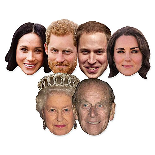 Star Cutouts SMP369 Six Pack Masks of Royal Couples Includes Harry, Meghan Markle, Philip, The Queen, Prince William and Kate The Duchess of Cambridge, Unisex-Adult, Hand/A