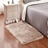 KAIHONG Faux Lammfell Schaffell Teppich (50 x 150 cm) Modern Wohnzimmer Teppich Flauschig Lange Haare Fell Optik Gemütliches Schaffell Bettvorleger Sofa Matte (Braun)
