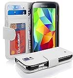 Cadorabo Hülle kompatibel mit Samsung Galaxy S5 / S5 NEO Hülle in MAGNESIUM WEIß Handyhülle mit 3 Kartenfächern Case Cover Schutzhülle Etui Tasche Book