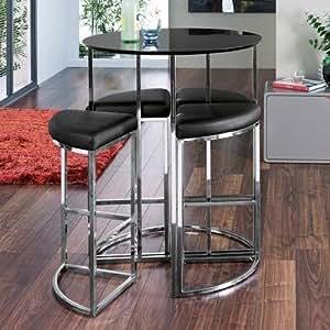 ensemble table haute de bar ronde et 4 chaises noir. Black Bedroom Furniture Sets. Home Design Ideas