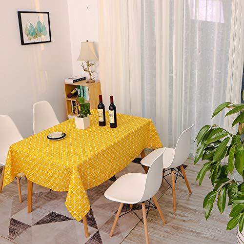 Tischdecke 140x240cm Kariert Geometrisch Baumwolle und Leinen Tischtuch Rechteck Couchtisch Tischdecke Gartentischdecke Abwaschbar Küchentischabdeckung für Speisetisch (140x240,YL) ()