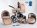 Kombikinderwagen Coral 3in 1mit Kinderwagen + Babyschale + Autositz + Wickeltasche + Gratis Sonnenschirm