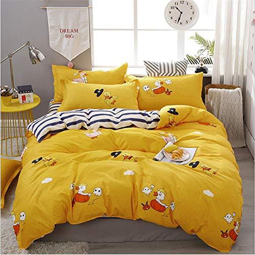 SHJIA Bettwäsche Set Mode Heimtextilien Bettbezug Bettwäsche Blatt Weiche Komfortable König Königin Voll Twin Gelb 180x220 cm (Gelb Voll Bettwäsche)