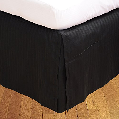 BudgetLinen 1pcs Box Jupe plissée de lit(Noir A_Rayures,Taille Euro King IKEA, Drop Length 25cm) 100% Coton-d'Egypte Qualité Premium 300 Nombre de Fil