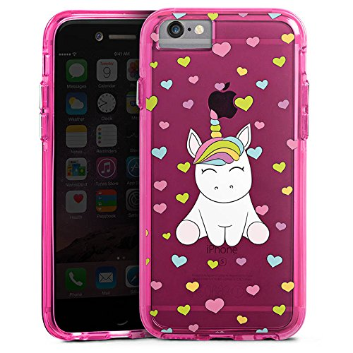 Apple iPhone 6s Bumper Hülle Bumper Case Glitzer Hülle Einhorn Regenbogen Transparent Bumper Case transparent pink