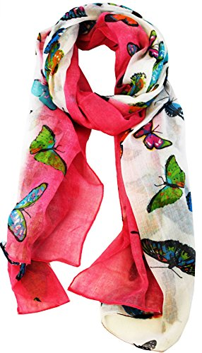 KukuBird Butterfly Colour print long shawls / scarves / wraps / head scarf / pashmina-FUSHIA - Butterfly Print Scarf