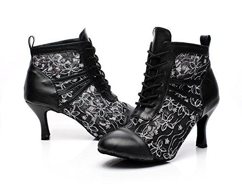 Minitoo qj6176da donna in pelle floreale sociale Salsa Tango Ballroom Latin Dance Stivali alla Caviglia Balck