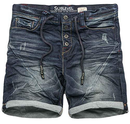 Sublevel Herren Sweat Jeans Shorts Kurze Hose Bermuda Sommer Sweathose Slim [B587-Dunkelblau-Used-W32]