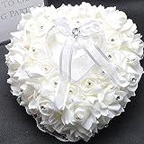 Kitty princess 19cm*17cm Romantische Rose Hochzeit Ringkissen Ring Box Herz Bevorzugungen Ehering Kissen mit eleganter Satin Flora