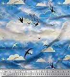 Soimoi Blau Baumwolle Batist Stoff Wolken & Fliegen Swift