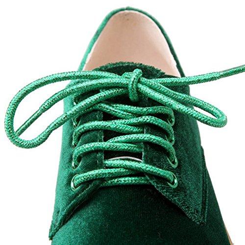 Nobuk Baixos Com Lazer Confortável Grossas Up Sapatos derrapante Plana Senhoras Lace Solas Brogues Anti Moda Verde qAp6nYxt