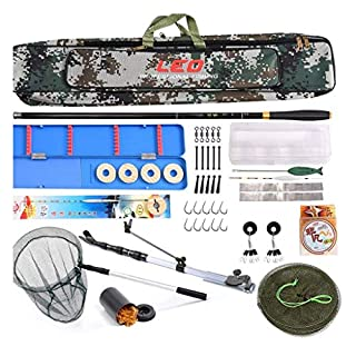 YROD Fishing Rod, Full Set Of Fishing Equipment Super Hard Pole Set Lightweight Carbon Fiber Flexible Anti-winding Rock Fishing Lure Rod Kit With Fishing Bag, Line, Lure, Hook, Net, Support