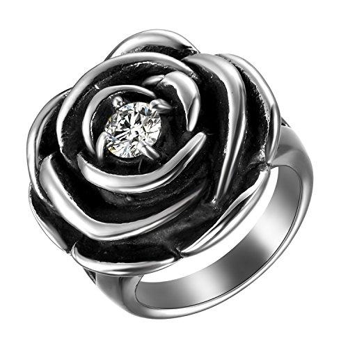 JewelryWe Schmuck Damen-Ring, Edelstahl Ring Rose Flower Blume Zirkonia CZ Gothic Silber Cast Band für Frauen - Größe 59