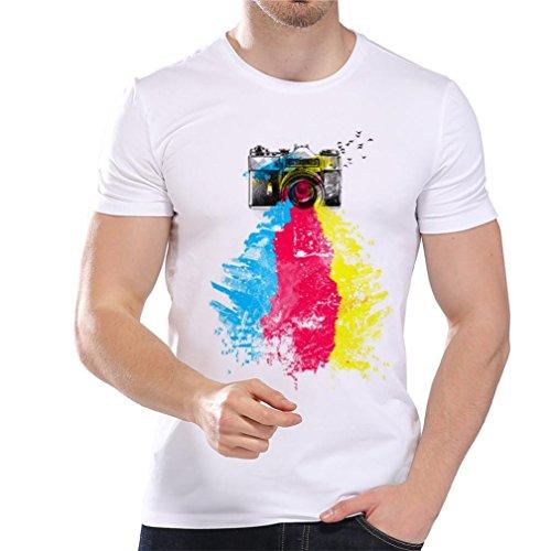 (OSYARD Männer Druck Bluse Tees, Herren Basic Kurzarm Reizvoll Sommer Tops Printing Oversize T-Shirt Sport Shirt (L, Weiß),Sweatshirts O-Ausschnitt Shirt (3XL, Weiß))