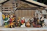 17 -tlg. Premium-Krippenfiguren von BTV Oelbaum-SET, mit feiner Mimik, K603-MDR + Holzdeko-Set, handbemalt je max. 8 cm groß - FIGUREN für große Holz Weihnachtskrippe Krippe Zubehör