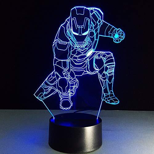 Dwthh 3D Iron Man Nachtlicht Led Vision Figur Tischlampe 7 Farben Ändern Schlafzimmer Wohnkultur Baby Schlaf Leuchte Geschenk - Iron-base Tischleuchte