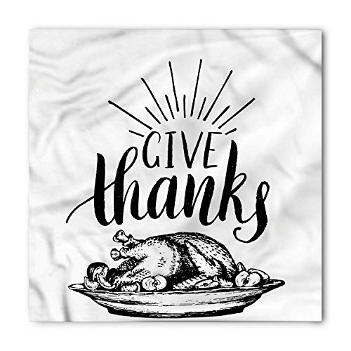 SHALLY Thanksgiving Bandana, Delicious Turkey Plate, Unisex Head and Neck Tie 60X60CM American White Plate