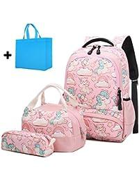 Mochila Escolar Chica Unicornio Linda Bolso 3 en 1 Casual Backpack Set de Mochilas para Niñas