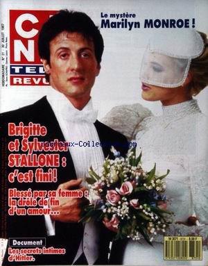 CINE TELE REVUE [No 31] du 30/07/1987 - LE MYSTERE DE MARILYN MONROE - BRIGITTE ET SYLVESTER STALLONE - LES SECRETS INTIMES D'HITLER