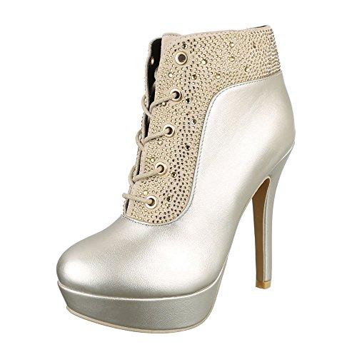 High Heel Stiefeletten Damenschuhe Schlupfstiefel Pfennig-/Stilettoabsatz High Heels Reißverschluss Ital-Design Stiefeletten Gold