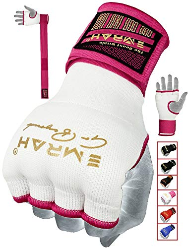 EMRAH PRO Boxing Armbänder Hand wickelt Boxing Elastic Innenhandschuhe MMA Handschuhe Daumenschlaufe (Rosa, S) -