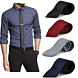 #9: Set of 4 Slim Satin Tie for Men - Formal, Party Wear, Birthday Gifts.