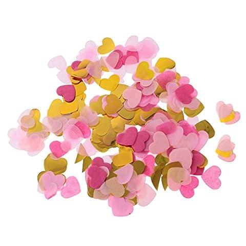 Gazechimp 1400pcs Mini Coeur Papier PET Confettis de Table Multicolore