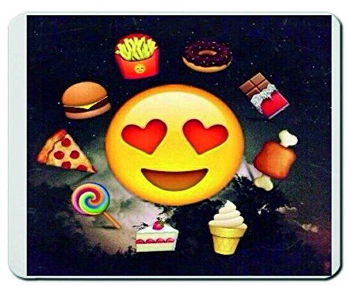 """Preisvergleich Produktbild Mauspad """"Träumender Smiley von Schoko Dounats Eis Pommes Pizza"""" Mousepad, Handauflage, Gamepad, Handgelenkauflage, Windows, Notebook, PC"""