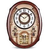 Jinzsnk Orologio da Parete sospeso Orologio da Parete retrò Ovale Tempo plastica dell'orologio Orologio di Caduta Musica Swing Non ticchettio for Soggiorno Facile da installare Adatto a Soggiorno