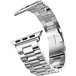 YISUYA 42mm Apple Watch Band, Solid Stainless Steel Metal Replacement Strap Classic Apple iWatch Wrist Band with Double Button Folding Clasp Silver