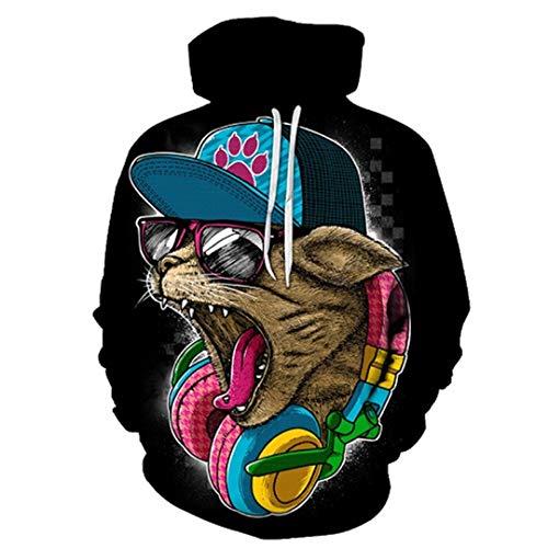 Rock Cat 3D Sweatshirts Hoodies mit Hut drucken Mode Herbst Winter lose dünne Kapuzen Hoody Tops LMS153 XXXL (Hund Pullover Nike)